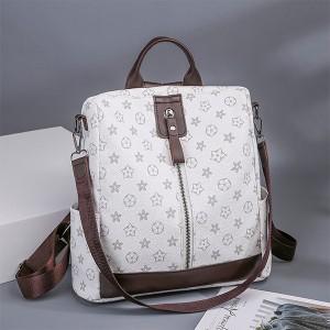 Printed Zipper Closure Double Strap Elegant Backpacks - White
