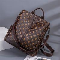 Printed Zipper Closure Double Strap Elegant Backpacks - Brown