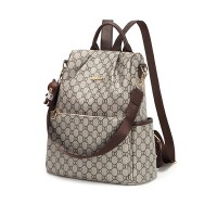 Printed Zipper Closure Synthetic Leather Backpacks - Brown