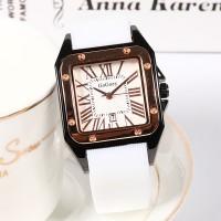 Mesh Strapped Roman Dial Analogue Wrist Watch - White