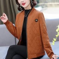 Patchwork Texture Zipper Closure Winter Wear Casual Jacket - Brown