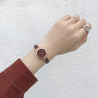 Elegant Thin Strapped Women Fashion Wrist Watch - Brown