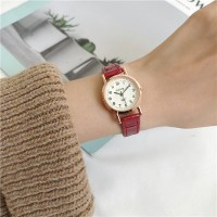 Round Numeric Dial Hooked Closure Wrist Watch - Red