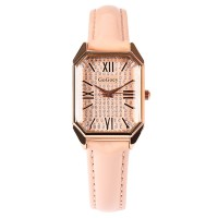 Square Roman Stitched Strap Hook Closure Wrist Watch - Pink