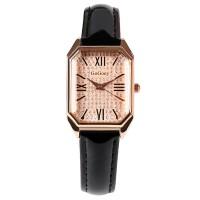 Square Roman Stitched Strap Hook Closure Wrist Watch - Black