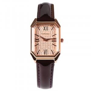 Square Roman Stitched Strap Hook Closure Wrist Watch - Coffee