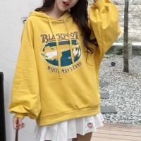 Loose Wear Hoodie String Printed Top - Yellow