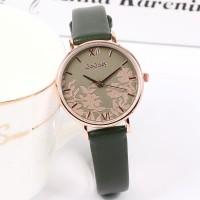Floral Dial Round Roman Elegant Wear Wrist Watch - Green