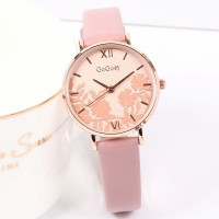 Floral Dial Round Roman Elegant Wear Wrist Watch - Pink