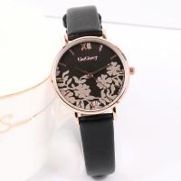 Floral Dial Round Roman Elegant Wear Wrist Watch - Black