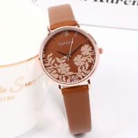Floral Dial Round Roman Elegant Wear Wrist Watch - Brown