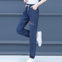 Narrow Bottom Waist String Sexy Wear Pants - Blue