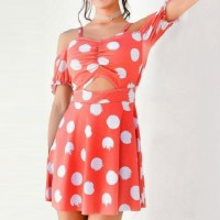 Polka Dotted Short Sleeves Mini Dress - Multicolor