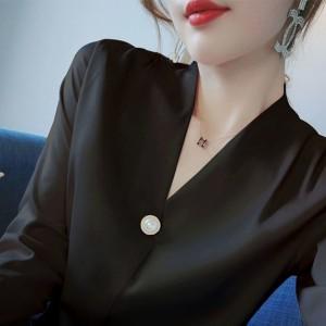 V Neck Pearl Button Up Formal Wear Elegant Blouse Top - Black