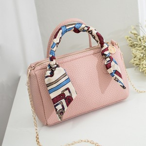 Synthetic Leather Ribbon Fold Vintage Messenger Bags - Pink