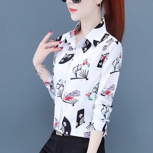 Printed Full Sleeved Cocktail Women Fashion Shirt - White