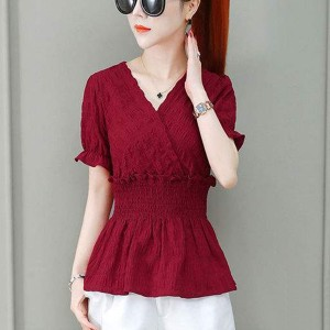 Short Sleeves Solid Color Waist Elastic Blouse Top - Red