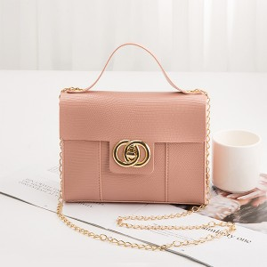 Lining Texture Chain Strap Messenger Bags - Pink