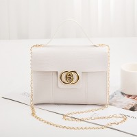 Lining Texture Chain Strap Messenger Bags - White
