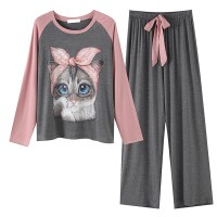 Cute Kitten Printed Contrast Waist String Closure Two Pieces Suit - Gray
