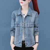 Denim Button Closure Casual Vintage Jacket - Blue
