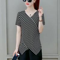 Wrapped Style Printed Short Sleeves Irregular Top - Black