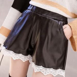 Lace Patched Satin Elegant Wear Shorts - Black