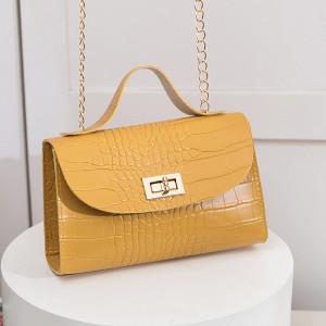 Textured Twist Lock Chain Strap Messenger Bags - Yellow
