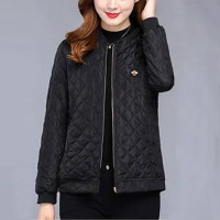 Patchwork Texture Zipper Closure Winter Wear Casual Jacket - Black