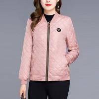 Patchwork Texture Zipper Closure Winter Wear Casual Jacket - Pink