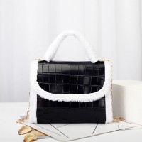 Contrast Fluffy Chain Strapped Elegant Textured Handbags - Black