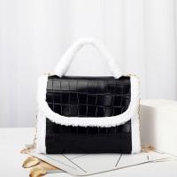 Contrast Fluffy Chain Strapped Elegant Textured Handbags - Black
