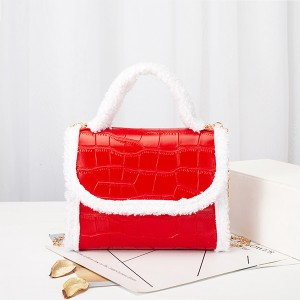 Contrast Fluffy Chain Strapped Elegant Textured Handbags - Red
