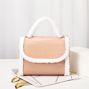 Contrast Fluffy Chain Strapped Elegant Textured Handbags - Pink
