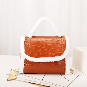 Contrast Fluffy Chain Strapped Elegant Textured Handbags - Brown