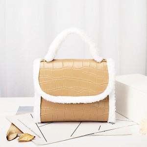 Contrast Fluffy Chain Strapped Elegant Textured Handbags - Khaki
