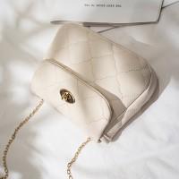 Twist Lock Geometric Textured Luxury Shoulder Bags - White