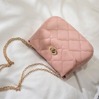 Twist Lock Geometric Textured Luxury Shoulder Bags - Pink