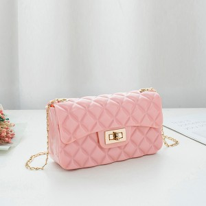 Patchwork Textured Chain Strap Messenger Bags - Pink