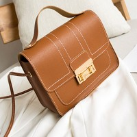 Press Lock Synthetic Leather Elegant Women Shoulder Bags - Brown