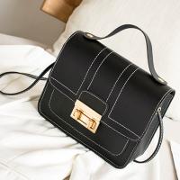 Press Lock Synthetic Leather Elegant Women Shoulder Bags - Black
