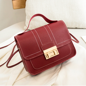 Press Lock Synthetic Leather Elegant Women Shoulder Bags - Red