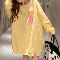 Loose Round Neck Women Fashion Winter Long Top - Yellow