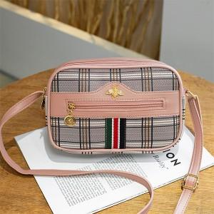 Check Prints Zipper Closure Fancy Messenger Bags - Pink