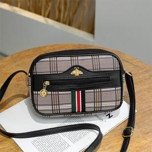 Check Prints Zipper Closure Fancy Messenger Bags - Black