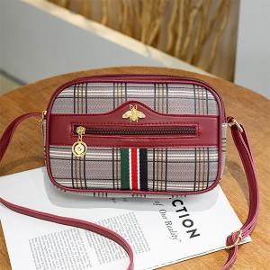 Check Prints Zipper Closure Fancy Messenger Bags - Red