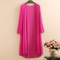 Chiffon Full Sleeves Outwear Thin Fabric Cardigan - Pink