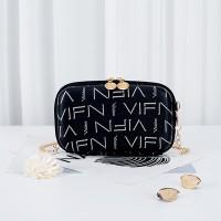 Alphabetic Prints Zipper Closure Chain Strap Messenger Bags - Black