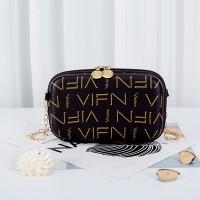 Alphabetic Prints Zipper Closure Chain Strap Messenger Bags - Brown