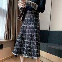 Tassel Hem Printed A-Line Skirt - Black